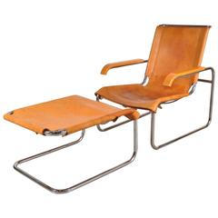 B35 Lounge Chair and Ottoman by Marcel Breuer for Thonet, Germany, 1920