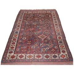 Antique Persian Rug by the Luri Tribe, Shekarlu Design, Grey Blue, circa 1900
