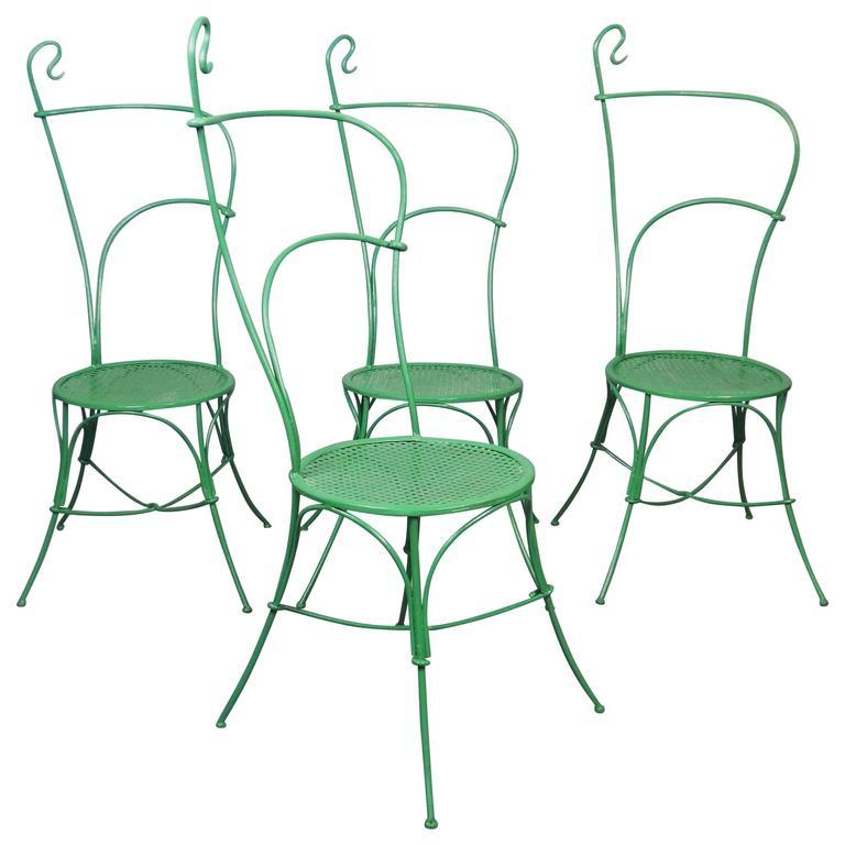 Set Of Four Art Nouveau Iron Garden Chairs For