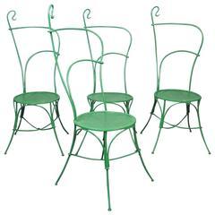 Set of Four Art Nouveau Iron Garden Chairs