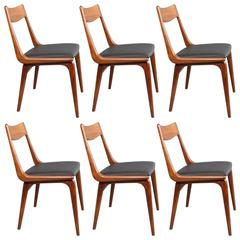 Set of Six Danish 1960s Erik Christensen Teak Boomerang Chairs
