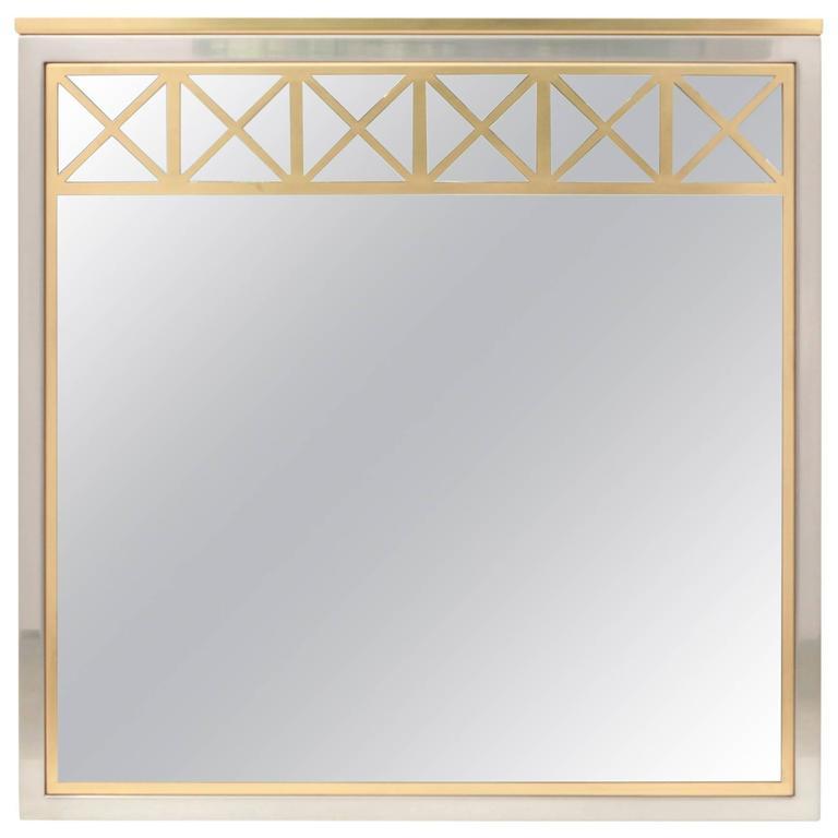Brass and Chrome Maison Jansen Mirror