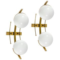 Stilnovo Brass and Glass Sconces Produced in Italy 1960s