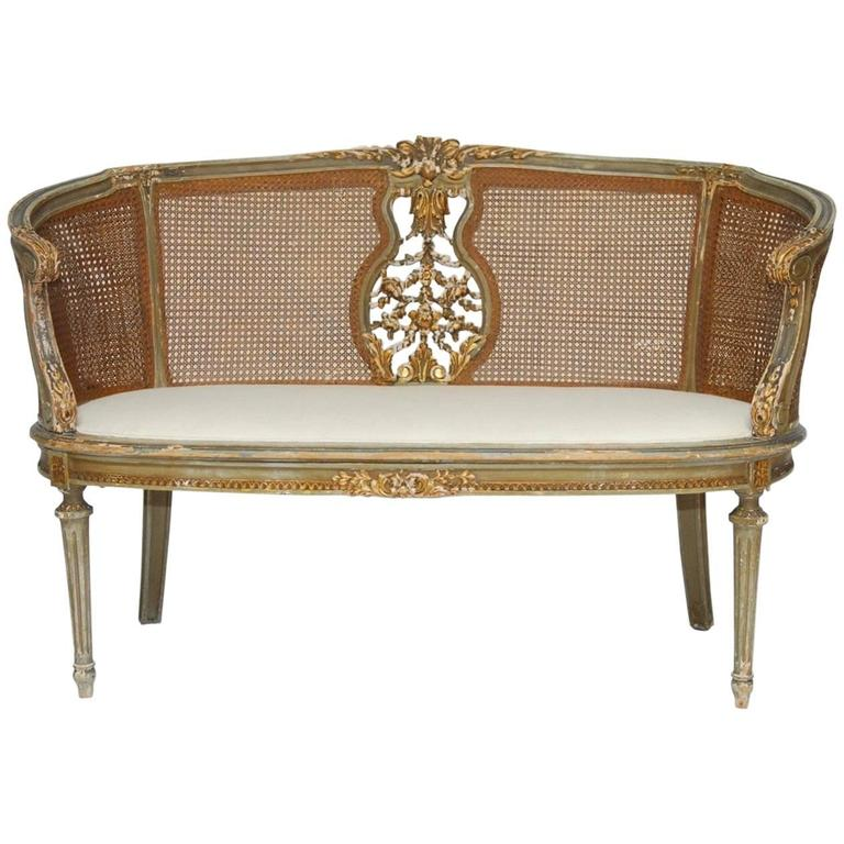 French Louis XVI Cane Settee Canape en Corbeille For Sale