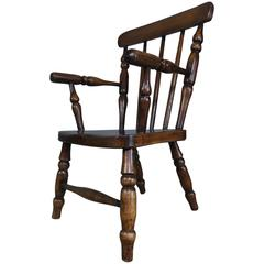 Early 20th Century Child's Slat Back Oak Windsor Chair