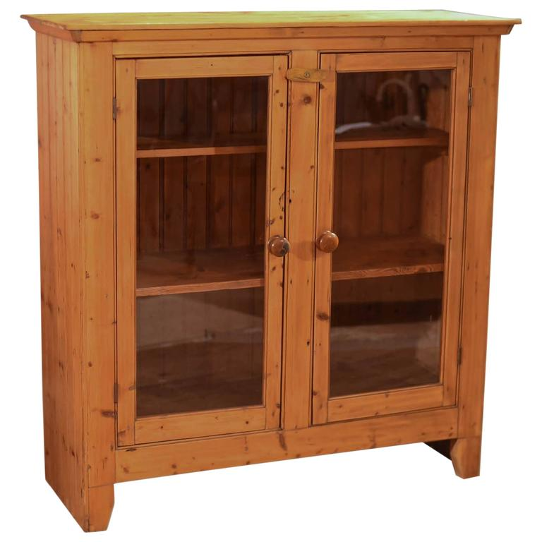 Two-Door Antique Bookcase, Victorian Pine Glazed, Circa