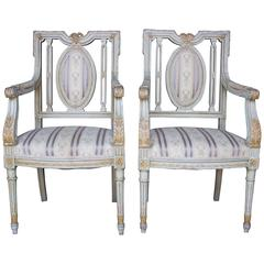 Pair of French Louis XVI Period Armchairs