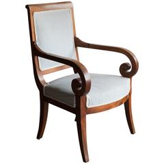 Restauration Walnut Open Armchair or Fauteuil Upholstered in Blue Ticking