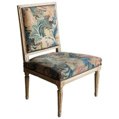 """Louis XVI Period Painted Low Chair or Chauffeuse, Stamped """"Séné"""" by the Maker"""