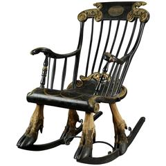 Rare Rocking Armchair Mounted on Elk Legs, Sweden, End of 17th Century