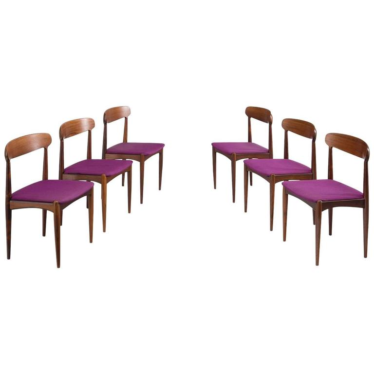 Johannes Andersen Dining Chairs in Rosewood For Sale