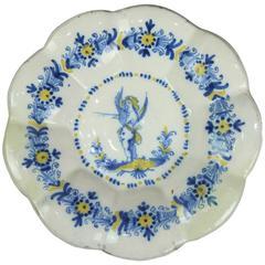 Large Antique Continental Soft Paste Porcelain Serving Bowl, Cupid, 18th Century