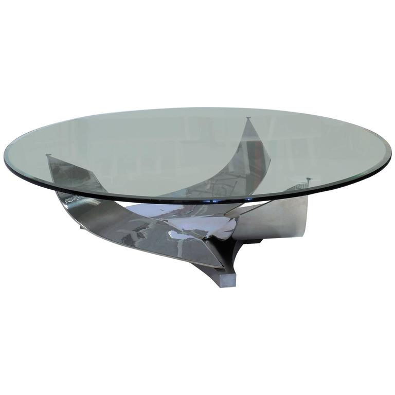 Stainless Steel Tail Table By Ron Seff For