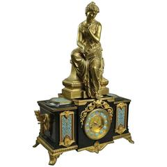 Antique French GS Medaille D'Or Champleve Mantel Clock with Bronze by Bouret