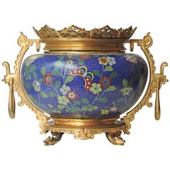 French Chinoiserie Gilt Bronze-Mounted Cloisonné Enamel Centrepiece