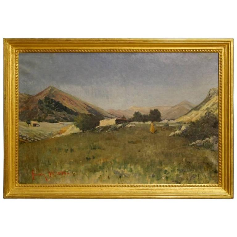 19th Century Italian Painting Landscape with Hunter Signed and Dated, 1899