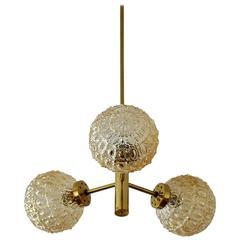 Small German Brass and Glass Sputnik Pendant Light Chandelier by Richard Essig