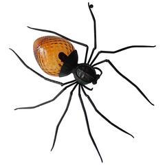 Mid-Century Italian Brutalist Spider Amber Glass Body Sconce