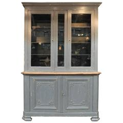 French Two Parts Bookcase Grey Painted Cabinet, Early 1900