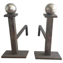 Pair of Brushed Steel and Chrome Andirons Attributed to Jacques Adnet