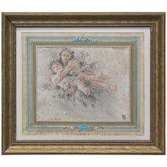 Two Putti's in Flight Attributed to Francois Boucher