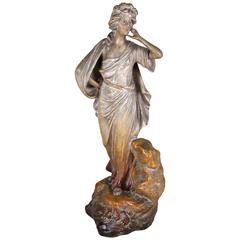 Female Art Nouveau Figurine by Johann Maresch, Marked, Bohemia, circa 1900