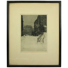 "German Etching ""FEBRUAR"" of Winter City Street, Artist Signed, circa 1890"