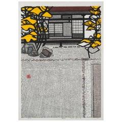 Large Okiie Hashimoto Block Print of Japanese Garden, 1963