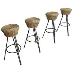 Set of Four Hairpin Barstools in Wicker and Steel by Dirk van Sliedregt