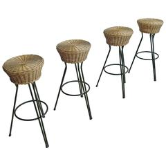 Set of Four Hairpin Barstools in Wicker and Steel by Dirk van Sliedregt