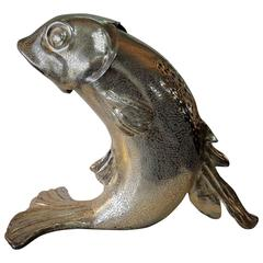 Large Silver Plated Bronze Fish Ice or Champagne Bucket