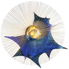 Rare Metal Starburst with Abstract Bright Blue Lucite Accents Wall Sculpture