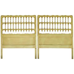 Pair of French Headboards Original Paint Mid-Century Twin Beds