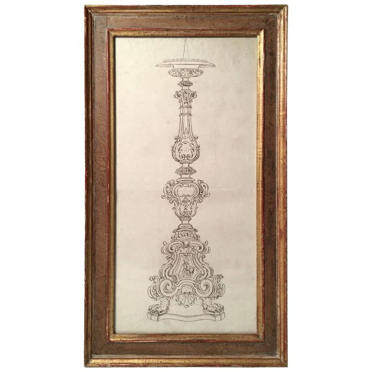 18th Century Italian Pen and Ink Baroque Candlestick Drawing For Sale