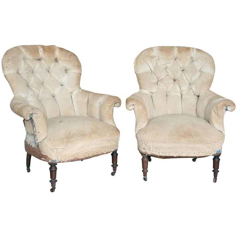 Pair of Tufted Armchairs For Sale