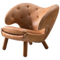 Finn Juhl Pelican Lounge Chair in Cognac Leather Upholstery