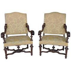 Large Pair of Régence Style 19th Century Beechwood and Oak Armchairs