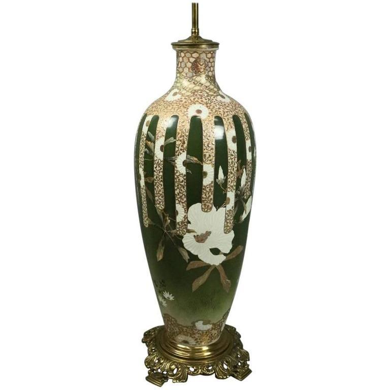 Oversized Antique Japanese Meiji Satsuma Art Pottery Lamp Base, circa 1900 For Sale