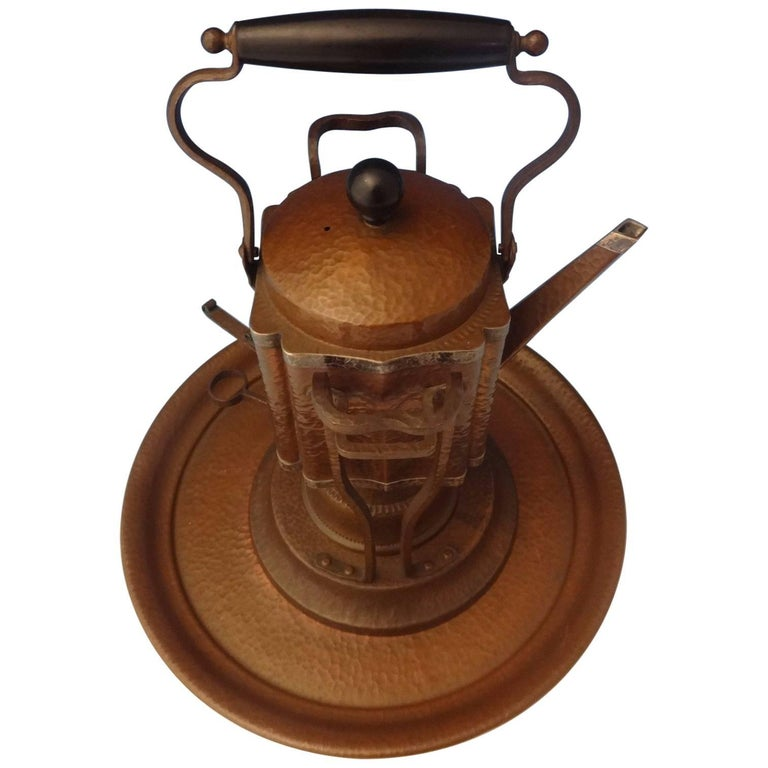 Joseph Heinrichs Copper Kettle on Stand with Tray Arts & Crafts, Hollowware For Sale