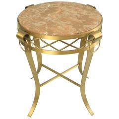 20th C. French Neoclassical Style Bronze Round Marble Top Gueridon Side Table