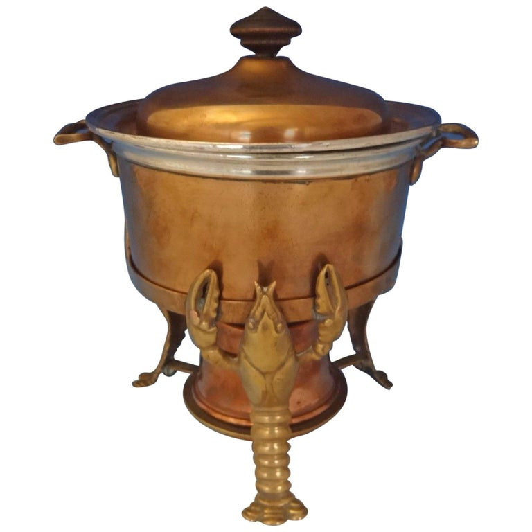 Joseph Heinrichs Lobster Pot Copper and Bronze with 3-D Lobsters, Hollowware For Sale
