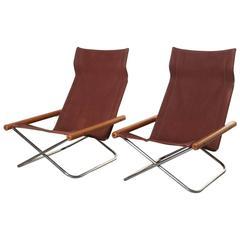 "Takeshi Nii Original Vintage ""NY Chair"" Folding Chair Pair, Japan"