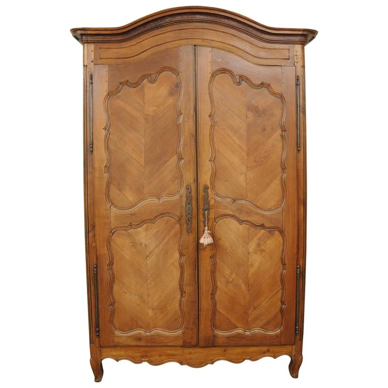 Large Country French Louis XV Style Wardrobe Cabinet Walnut Bonnet Top Armoire For Sale