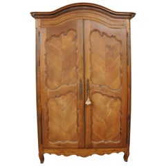Country French Provincial Louis XV Walnut Bonnet Top Armoire Wardrobe Cabinet