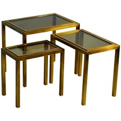 1970s Minimal Brass Nest of Tables with Tinted Glass