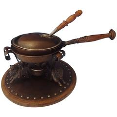 Joseph Heinrichs Chafing Dish Copper and Sterling Silver 3-D Buffalo, Hollowware