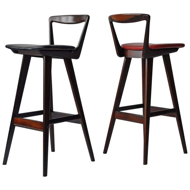 Pair Of Rosewood Bar Stools By Rosengren Hansen For Sale