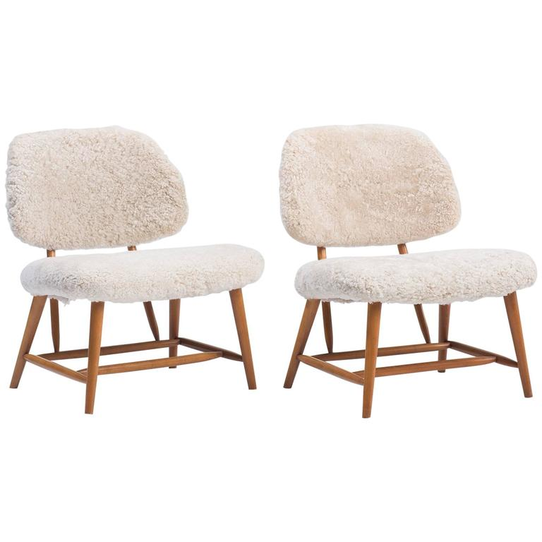 Pair Of Lambswool And Beechwood Teve Chairs By Alf