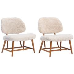 Pair of Lambswool and Beechwood Teve Chairs by Alf Svensson