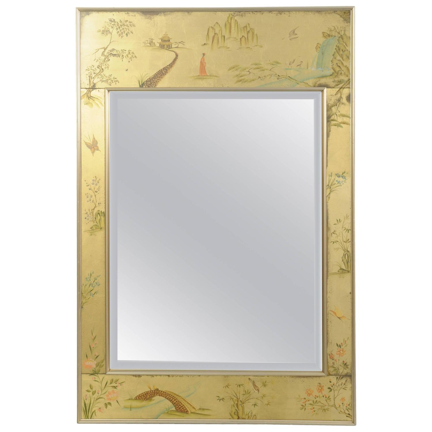 Labarge Chinoiserie Style Gold Églomisé Wall Mirror Reverse Painted Asian Signed